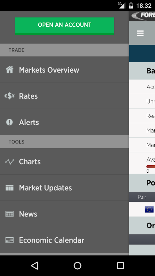 FOREXTrader for Android: captura de pantalla