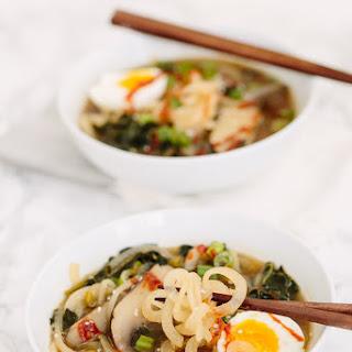 Spiralized Daikon Ramen with Portobello Mushrooms and Soft Boiled Egg