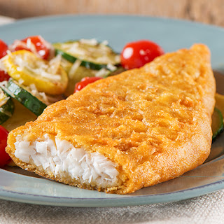 Pub-Style Beer Batter Cod with Roasted Vegetables.