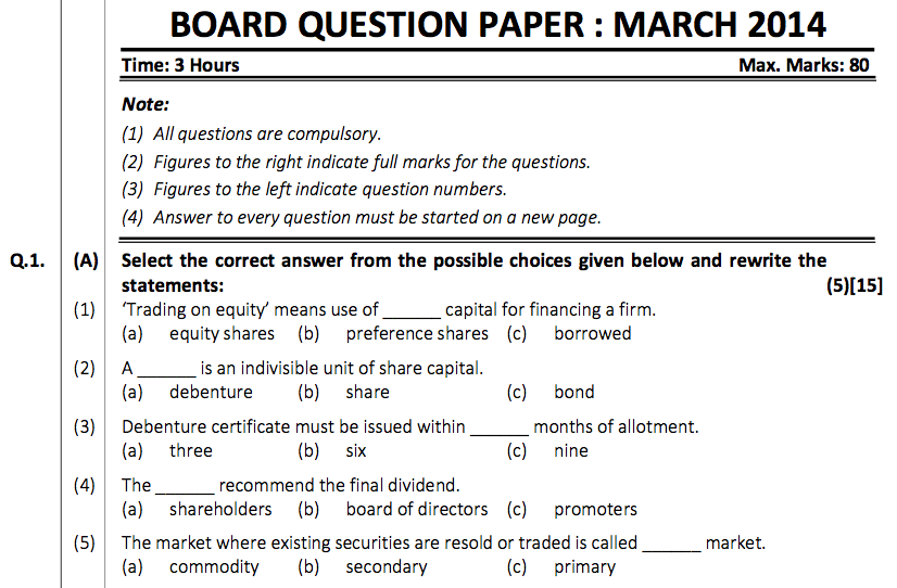 Secretarial Practice Board Question Paper March – 2014