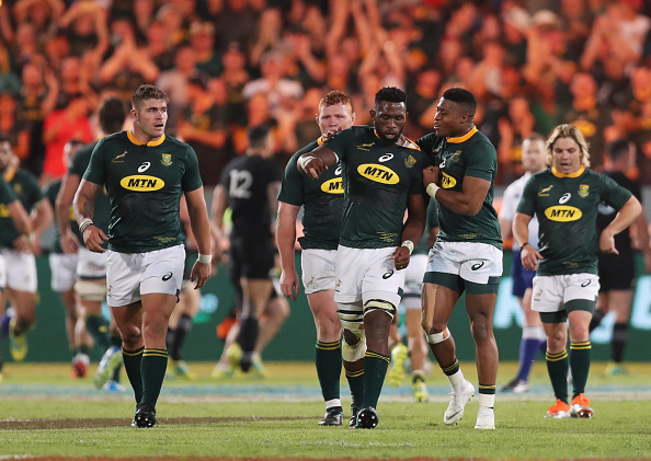 Siya Kolisi (captain) with Aphiwe Dyantyi of South Africa after a South African try during the Rugby Championship match between South Africa Springboks and New Zealand All Blacks at Loftus Versfeld Stadium