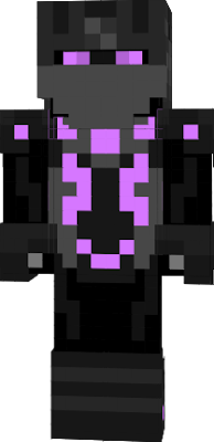 Black skin, Dark grey boots, gloves, helmet and armour with purple patterns.