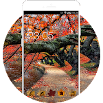 Autumn Red Leaves Wallpaper Theme HD Icon