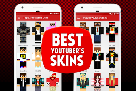 Youtubers Skins For MCPE Apps On Google Play - Skins para minecraft pe youtuber