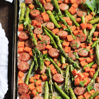 One-Pan Sausage with Sweet Potato and Asparagus.