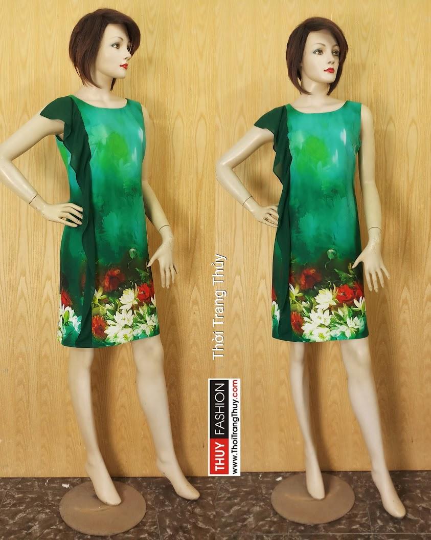 Váy suông phối bèo dọc thân váy họa tiết hoa V620 Thời Trang Thủy Hải Phòng
