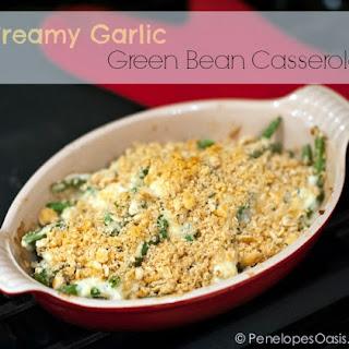 Creamy Garlic Green Bean Casserole.