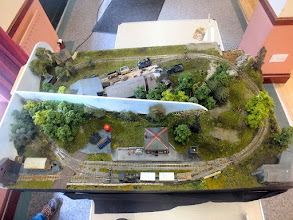 Photo: 024 An overhead view of David Mitchell's Kydmoor Light Railway. An attractive small layout with an identical track plan and I think the same dimensions as Ted Polet's Nixnie.