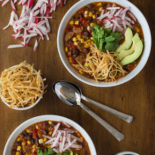 Slow Cooker Black Bean and Chicken Sausage Tortilla Soup.