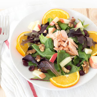 Fresh Salmon Salad with Apple, Walnuts, and Cranberries.