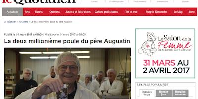 La deux millionième poule du père Augustin Le Quotidien
