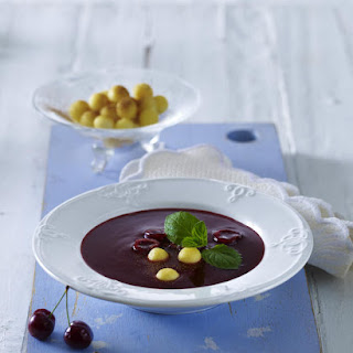 Cherry Soup with Semolina Dumplings.