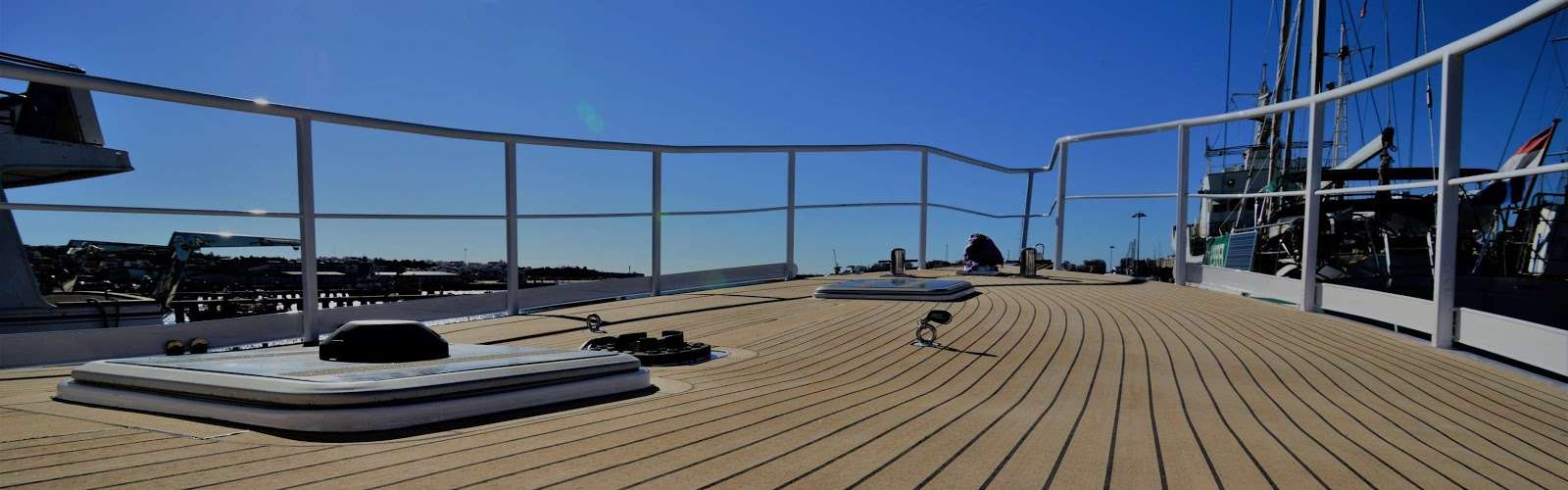 Synthetic teak decking on a power boat
