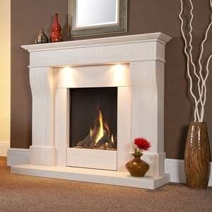 a built-in fireplace with white borders