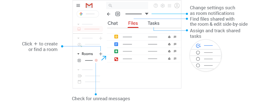 Use rooms, check mail, change settings, find & edit shared files, & share tasks