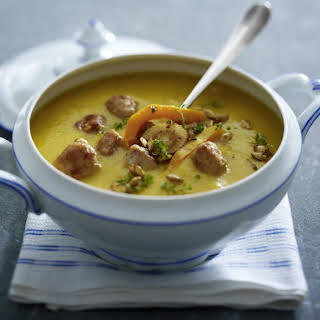 Butternut Squash Soup With Pork Meatballs.