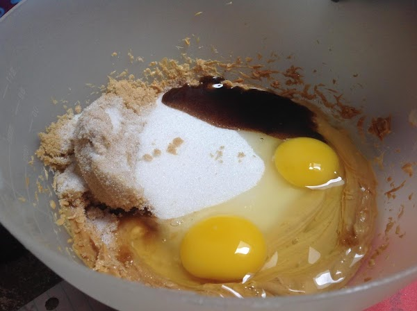 Add in both sugars, Vanilla bean paste or extract, and eggs. Then beat until...
