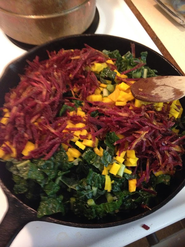 Peel and dice the beets. Grate the carrots. Stem and chop the kale. Cut the onion into...