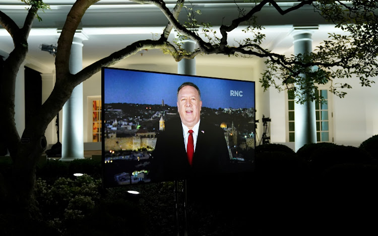 US secretary of state Mike Pompeo gives his live address to the 2020 Republican National Convention from Israel on a monitor set up in the Rose Garden of the White House in Washington
