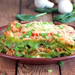 Chicken Spinach Mushroom Lasagna.