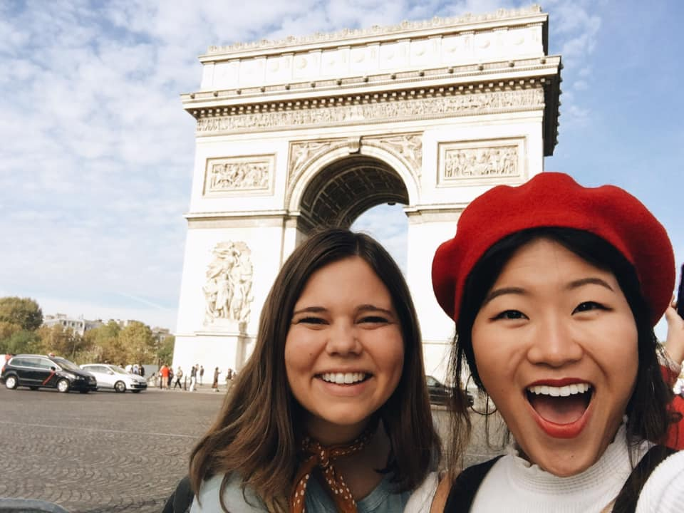 Meagan and friend in London and Paris