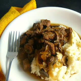 Sirloin Steak Tips with Black Pepper Mushroom Gravy.