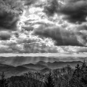 Gift from Above by Brian Young - Landscapes Mountains & Hills ( hill, mountains, sunbeams, nature, landscape )