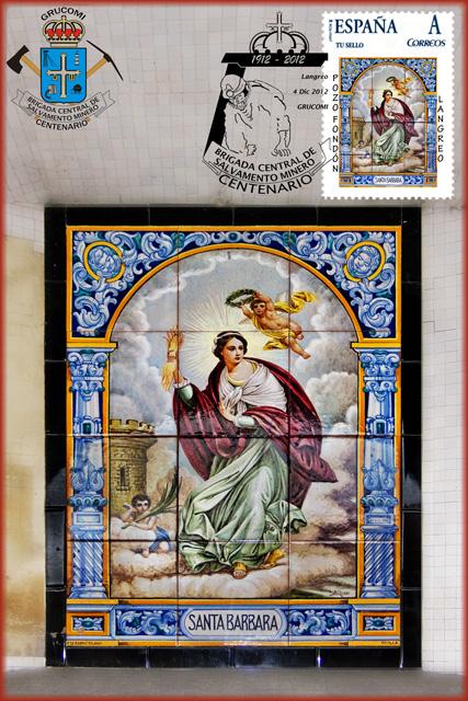 Photo: Tarjeta con sello personalizado de los azulejos de Santa Bárbara del Pozo Fondón y matasellos del Centenario de la Brigada de Salvamento Minero