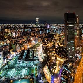 Namba Night Cityscape by Jun Robato - City,  Street & Park  Night ( cityscapes, japan, osaka, landscapes, namba, nightscapes )