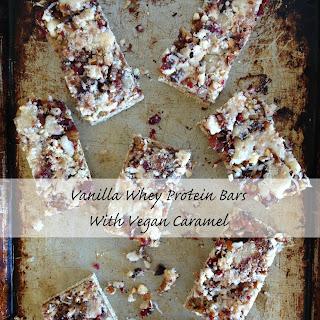 Vanilla Whey Protein Bars with Vegan Caramel.