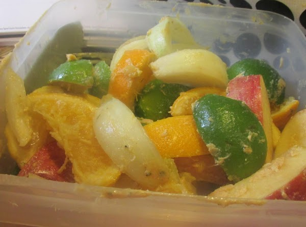 Now with the remaining fruit mixture fill in the larger cavity of the turkey,...