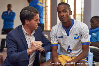 Photo: Prior to the game, Coach McKinstry reminds Yannick Mukunzi of his expected role [Rwanda Vs Ghana AFCON2017 Qualifier, 5 Sep 2015 in Kigali, Rwanda.  Photo © Darren McKinstry 2015]