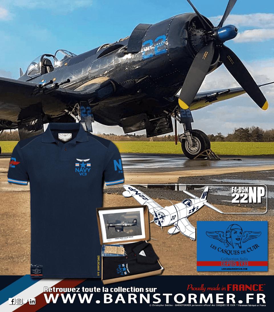 Corsair polo homme avion de chasse Chance Vought F4U barnstormer partenaire les casques de cuir