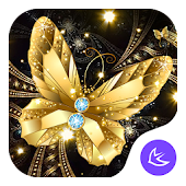 Shine Golden Fantastic Butterfly-APUS Launcher