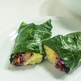 Collard Wraps with Sauerkraut and Mashed Potatoes.
