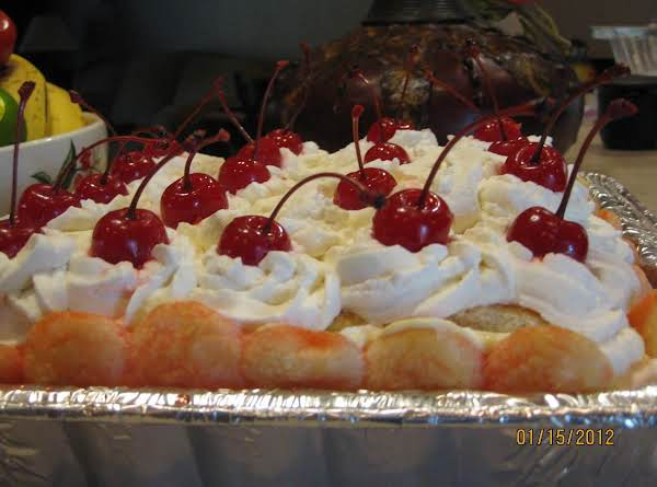 Zuppe Inglese: A Trifle-like Dessert Made With Lady Fingers, Maraschino Cherries, Rum, Custard And Fresh Whipped Cream.