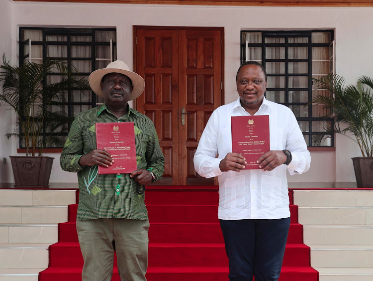 President Uhuru Kenyatta and former Prime Minister Raila Odinga at the new Kisii State Lodge after they received the Building Bridges Initiative (BBI) report on October 21, 2020.