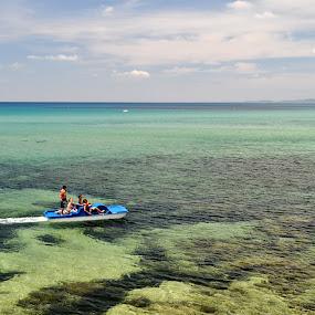 Hammamet by Boutheina Ferid - Transportation Boats ( blue sky, waterscape, sea, kids, boat )