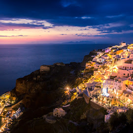 After the sun goes down by Michael Strier - City,  Street & Park  Night ( greece, city, oia, night, sunset, santorini, lights, sea,  )
