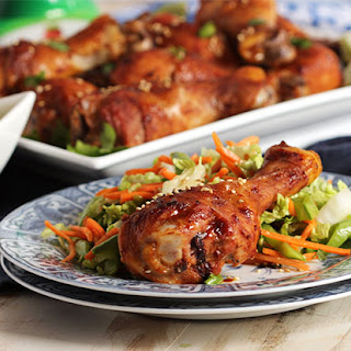 Asian Glazed Chicken Legs with Snow Pea and Carrot Slaw