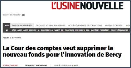 L'Usine nouvelle la Cour des comptes veut supprimer le nouveau fonds pour l'innovation de Bercy
