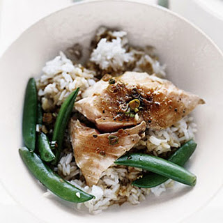 One-Pot Salmon with Snap Peas and Rice.