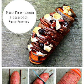 Maple Pecan Candied Hasselback Sweet Potato