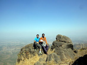 Photo: Sunny Jamshedji and Rich Kher on the summit of Chanderi.  Note the large Black Diamond Camalots on his rack!