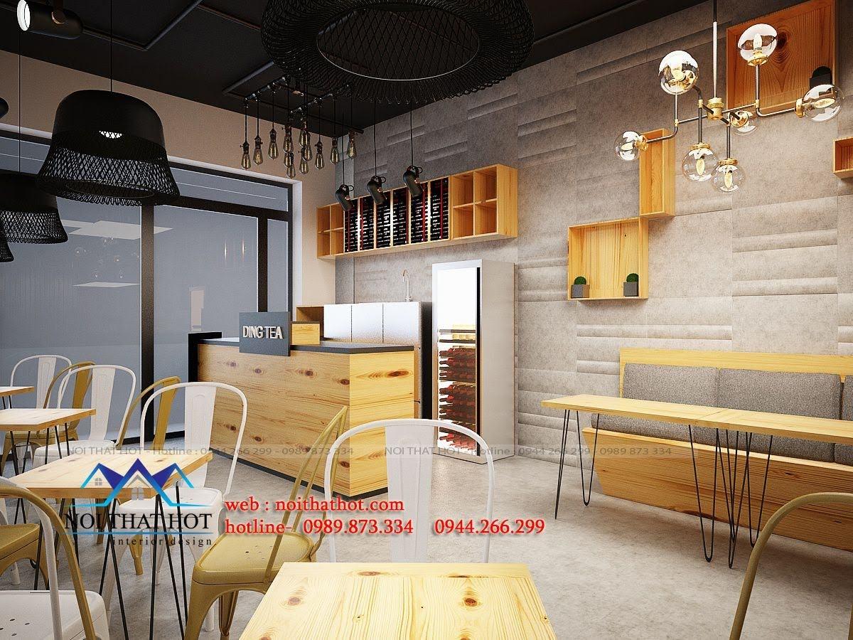 thiết kế quán trà sữa trẻ trung