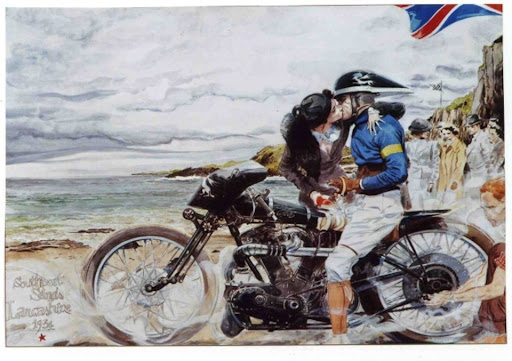 Denis sire ''Le Baiser'' in Pendine Sands with a Brough Speed Recrd