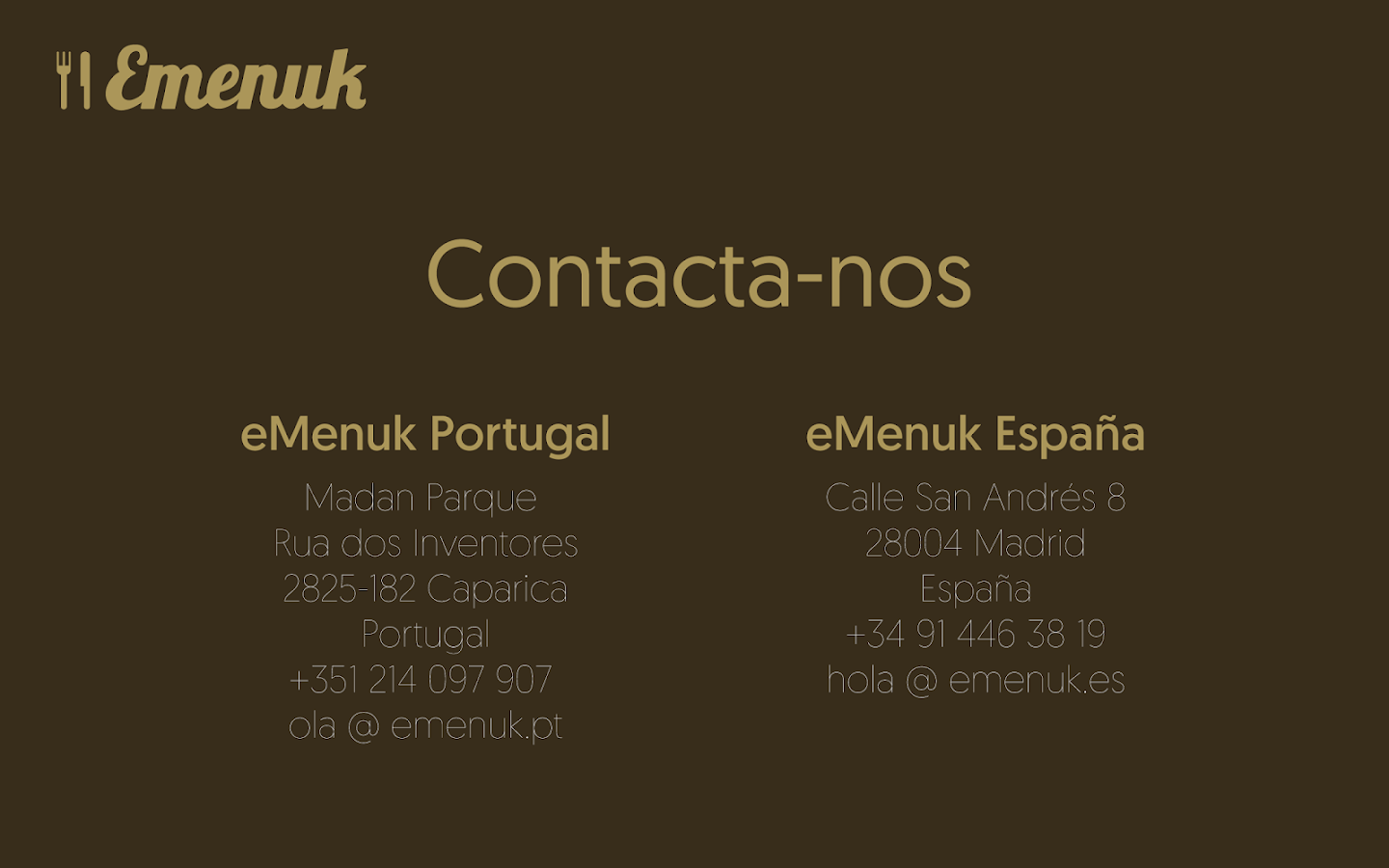 eMenuk for Business: captura de tela