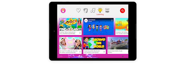 "The ""learning"" section on a kid-friendly tablet experience"