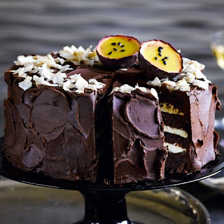 Dark Chocolate, Coconut & Passion Fruit Mousse Cake