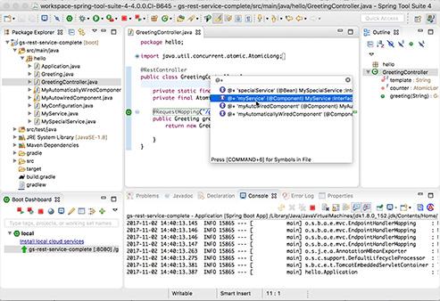 Print screent da IDE Sprint Tool Suite com a classe GreentingController aberta.
